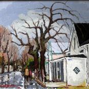 Sold | Botha, David | Wet street | Buildings, Figures