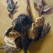 Sold | De Jongh, Tinus | Still life, Guinea fowl and Pheasants