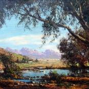 Sold | De Jongh, Tinus | Landscape house in distance