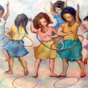 Sold | Langdown, Amos | Girls playing hoola hoop