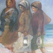 Sold | Langdown, Amos | 3 Ladies on beach