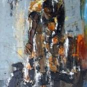 Sold | Ngatane, Ephraim Mojalefe | Woman feeding cats