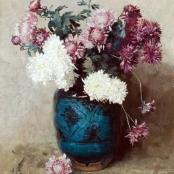 Sold | Oerder, Frans | Chrysanths in blue vase