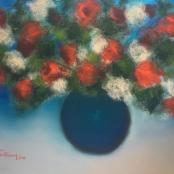 Sold   Van der Westhuizen, Pieter   Flowers in blue vase